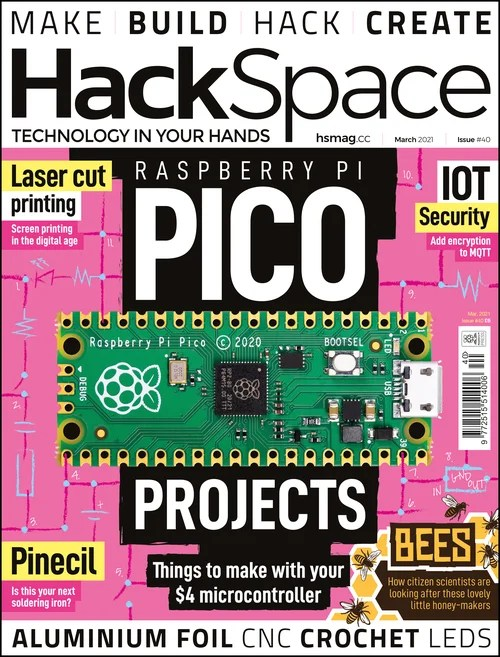 Front cover of Hack space magazine featuring Pico on pink and black background