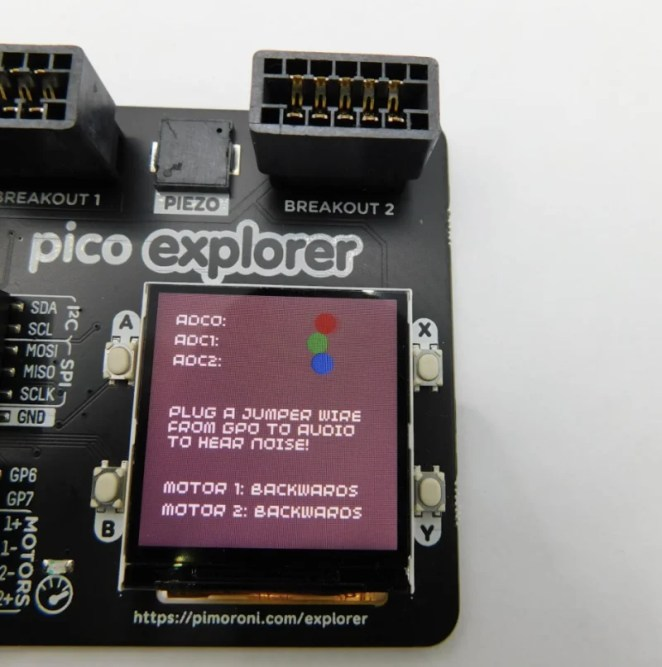 Connect a jumper wire from a GP female pin to the Audio pin to send sound to the on-board piezo speaker
