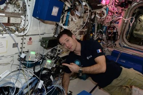 ESA Astronaut Thomas Pesquet with the Astro Pi computers onboard the ISS.