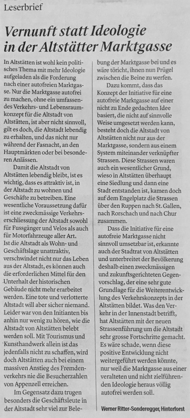 Bericht im Rheintaler | Vernunft statt Ideologie in der Altstätter Marktgasse