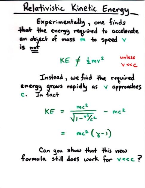 Relativity, Momentum, and Kinetic Energy