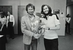 Howard Scott Warshaw og Stephen Spielberg i 1982, under et av møtene de hadde om det kommende E.T.-spillet.