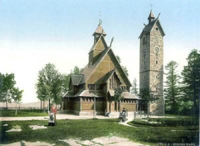 Bilde av kirken fra rundt år 1900.
