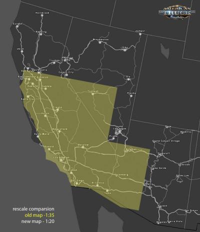 Den gamle kartstørrelsen er merket i gult.