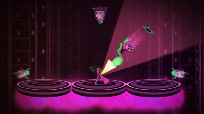 Du styrer figuren med den ene stikka, og med den andre forsvarer du deg mot angrep som dette.