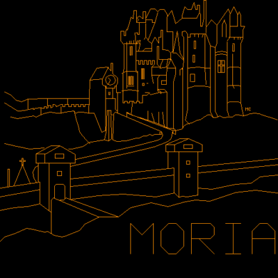 Morias tittelskjerm på en standard PLATO-terminal.