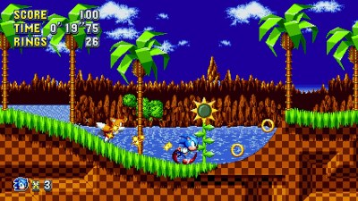 Blå himmel i Sonic Mania.