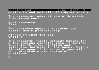 Legg merke til hvordan spillet er smart nok til å skjønne at «it» refererer til sjøhesten fra forrige kommando.