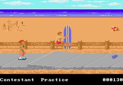 Rulleskøyter på Amiga. I denne versjonen blir du ikke plystret etter når du passerer han surferen her, slik du blir på PC. Kanskje like greit.