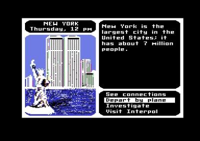 Commodore 64-versjonen. Her er vi i New York, med kjente motiver i bakgrunnen.