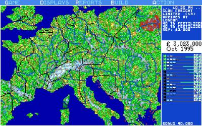 Oversiktskartet over hele Europa. Legg merke til jernbanen som går omtrent der Dover-Calais-tunnellen går i dag. Her er det en ferjeforbindelse i stedet.