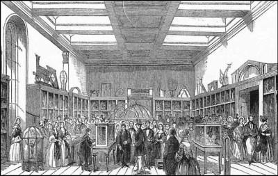 Prototypedeler av Analytical Engine vist frem på King George III Museum i London i 1943. Bilde: Illustrated London.