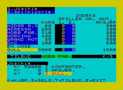 Dette er Trondheim Børs på ZX Spectrum.