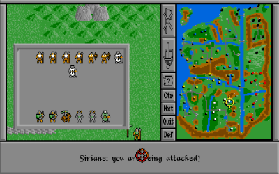 Kamp. Her kjempes det om en by, så forsvarerne kan ha flere enn åtte enheter (da hver by dekker fire ruter).
