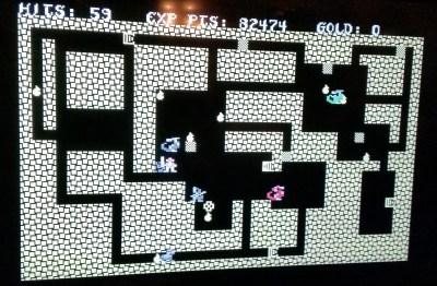 Jeg spilte på TheC64. Her er jeg komme ganske langt ned i hulesystemet.