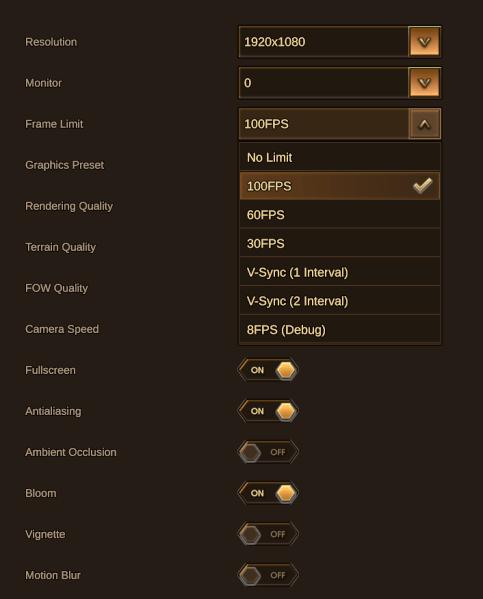 Mange grafikkinnstillinger, inkludert maks FPS.