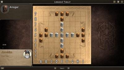 Tablut slik Linné beskrev det. Forsvarerne er de hvite brikkene, angriperne de mørke. Angriperne har tatt første trekk.