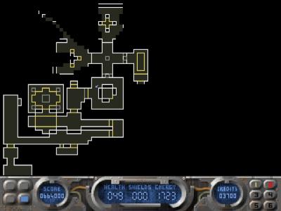 Autokartfunksjonen. Merk hvordan det kun er 90-gradersvinkler i spillet – et av få områder der Breathless-motoren ikke er like avansert som Doom-motoren.