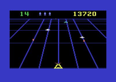 Beamrider kom først til Atari 2600, og presser ikke akkurat Commodore 64 til det ytterste. Men det er gøy.
