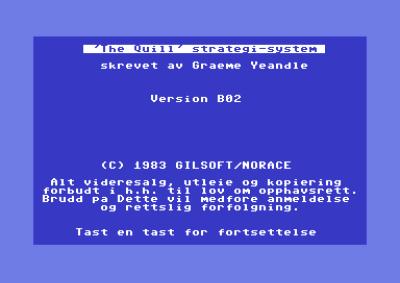 Spillet er utviklet ved hjelp av The Quill.