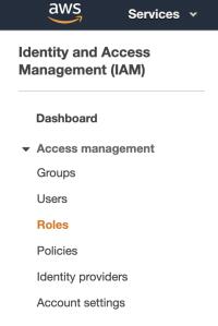 IAM sidebar screenshot