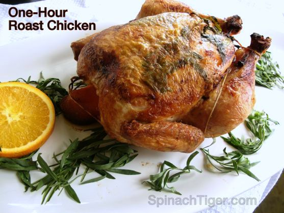 One Hour Roast Chicken with Orange and Tarragon
