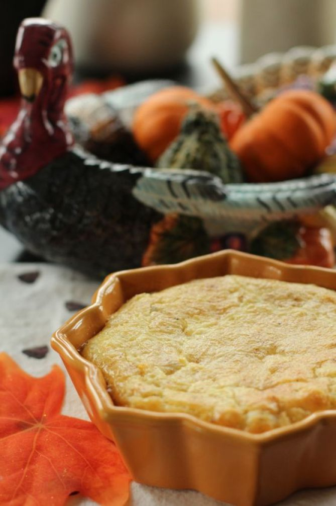 Baked Corn Pudding with a Shallot Twist