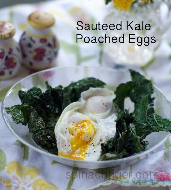 Sauteed Kale and Poached Eggs for National Kale Day by Angela Roberts