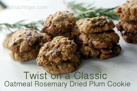 Oatmeal Cookie with Dried Plums and Rosemary