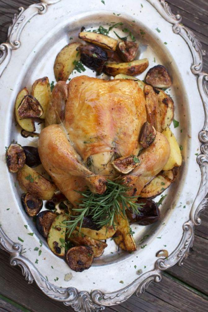 Roast Chicken wiht Figs by Spinach Tiger