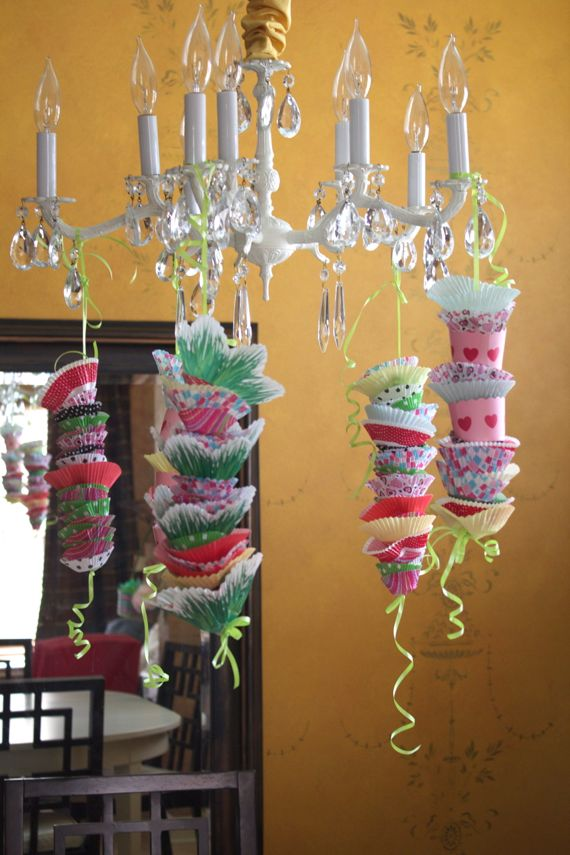 Birthday Party Decorations with Cupcake Liners