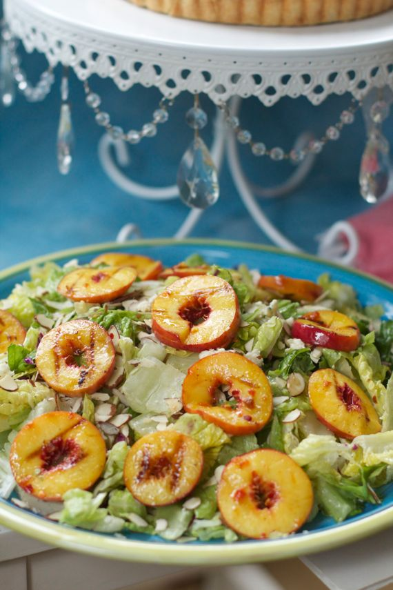 Grilled Peach Salad with Blue Cheese and Toasted Almonds by Angela Roberts