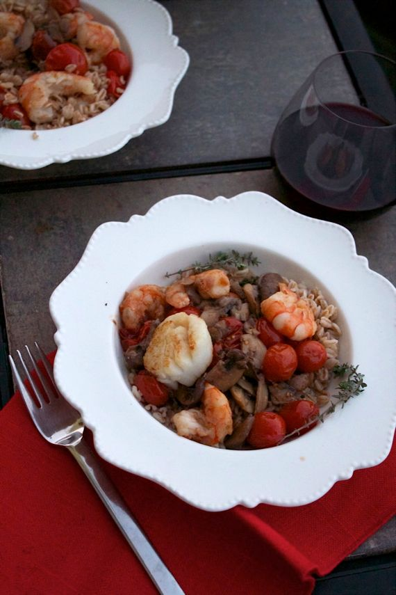 Shrimp, Mushrooms, Tomato on a Bed of Barley by Angela Roberts