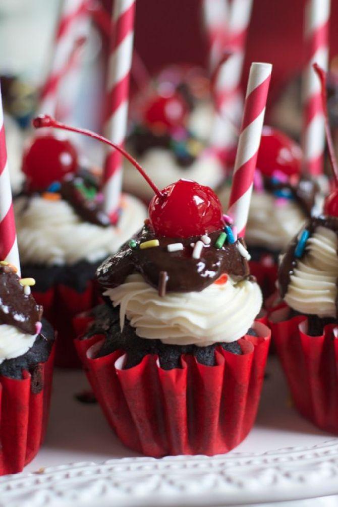 Chocolate Sundae Cupcakes with Decorative Straws by Angela Roberts