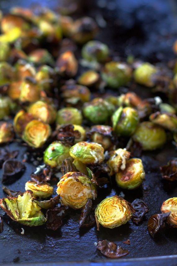 Garlic Roasted Brussels Sprouts with Parmesan by Angela Roberts