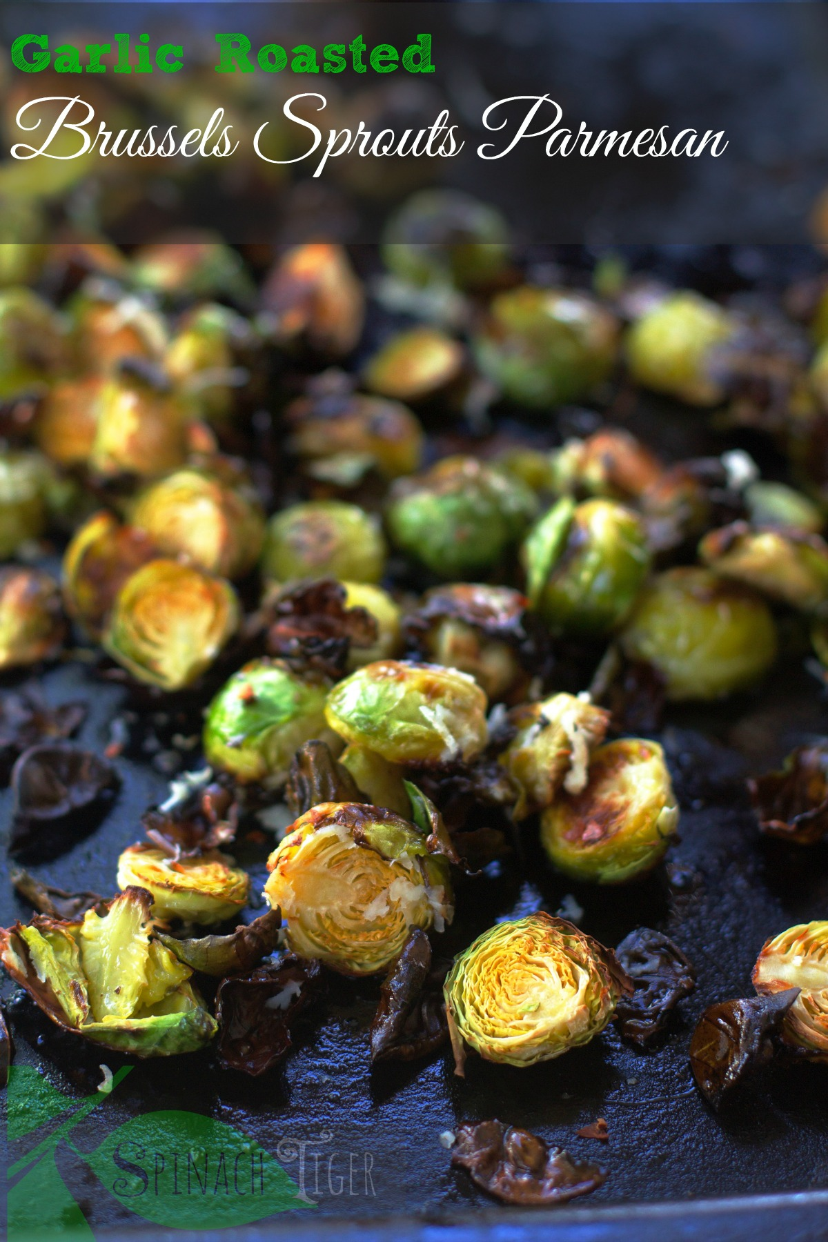 How to make garlic roasted brussels sprouts by Spinach Tiger