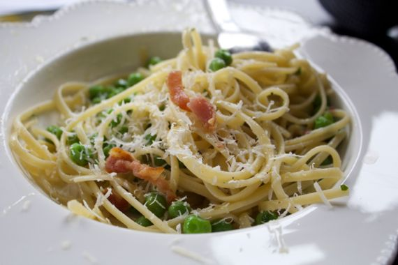 Buttery Spaghetti with Peas & Bacon by Angela Roberts