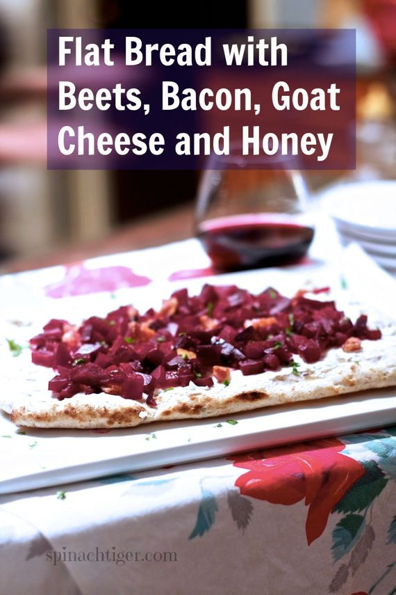 Red Beets, Bacon, Goat Cheese Flatbread Pizza by Angela Roberts