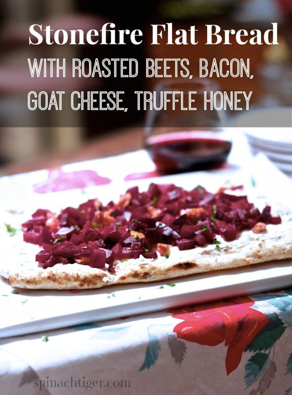 Roasted Beet, Bacon, Truffle Honey, Goat Cheese Stonefire Flatbread Pizza by Angela Roberts
