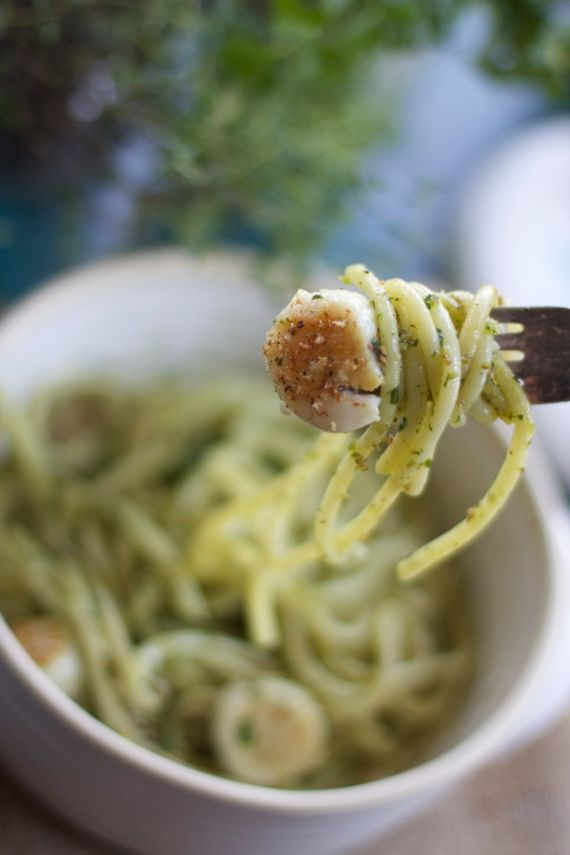 Anchovy Basil Sauce with pasta and scallops by Angela Roberts