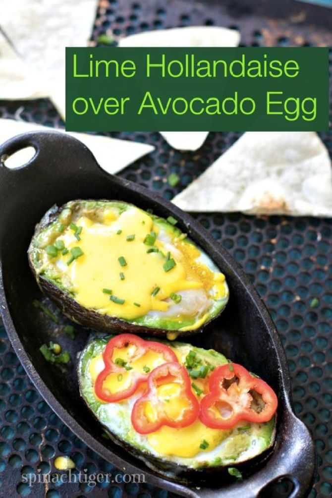 Baked Avocado Eggs with Lime Hollandaise by Spinach Tiger