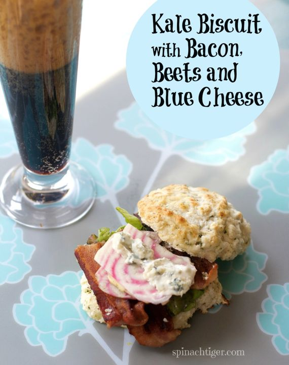kale biscuit with bacon beets & blue cheese mayo by Angela Roberts via @spinachtiger