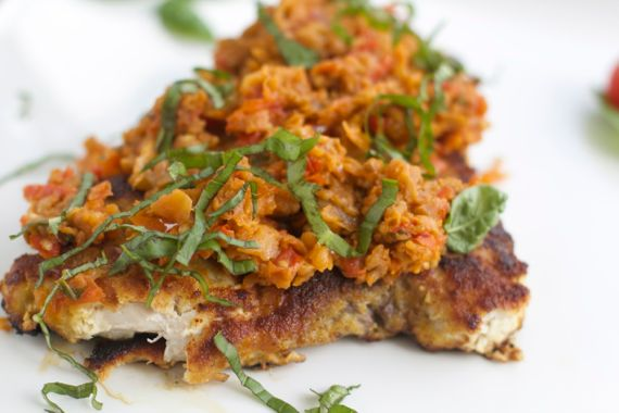 Swordfish Milanese with Eggplant Sauce with Tabasco by Angela Roberts