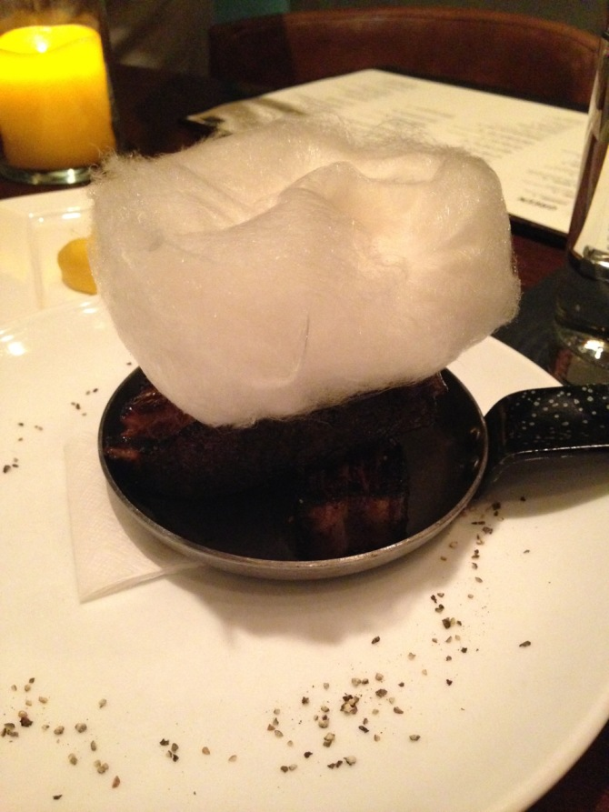 Bacon with Maple Cotton Candy at Kayne Prime by angela roberts
