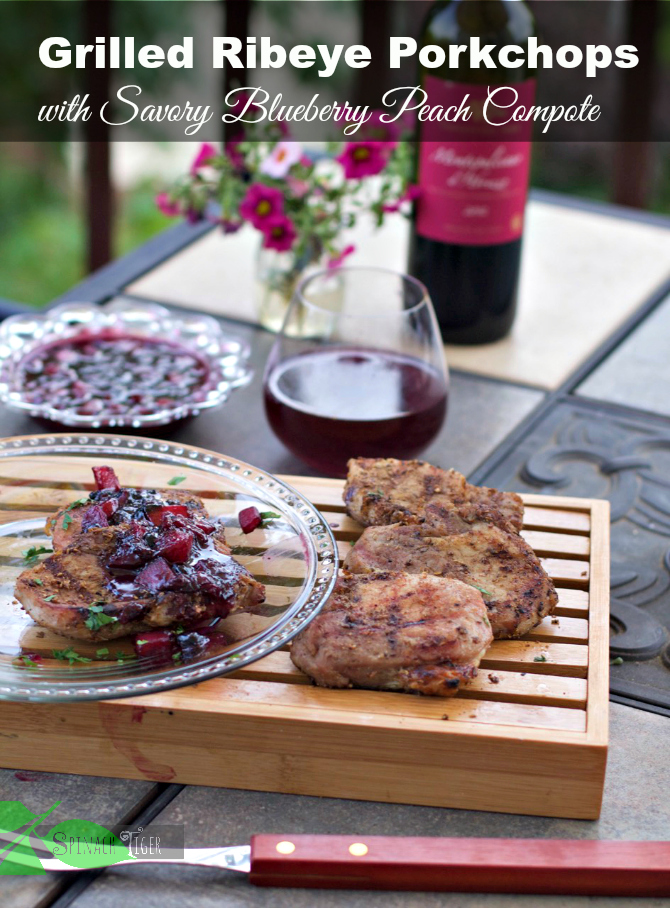 Grilled Rib Eye Pork Chops with Blueberry Peach Compote by Angela Roberts