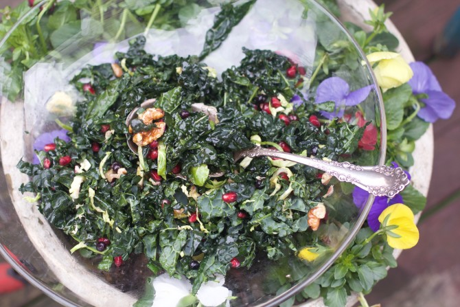 Winter Kale Salad with Shaved Brussels Sprouts