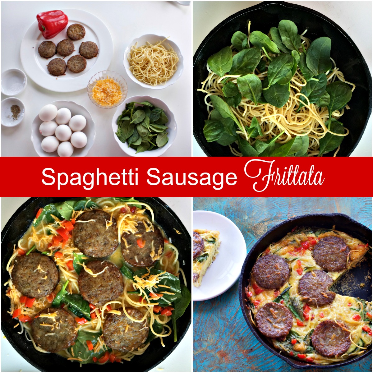 How to Make Sausage Spaghetti Frittata from Spinach Tiger