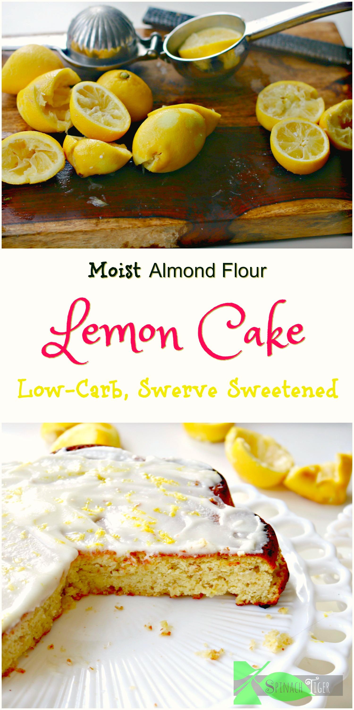 Easy Low Carb Lemon Snack Cake made with almond flour and coconut flour. #ketofriendly #paleocake #lemoncake #spinachtiger #glutenfree via @angelaroberts