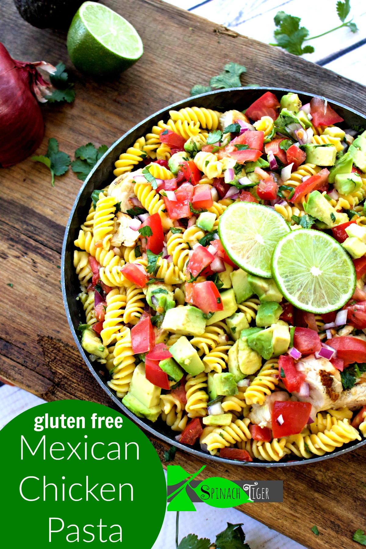 Mexican Chicken Pasta with Avocado from Spinach Tiger