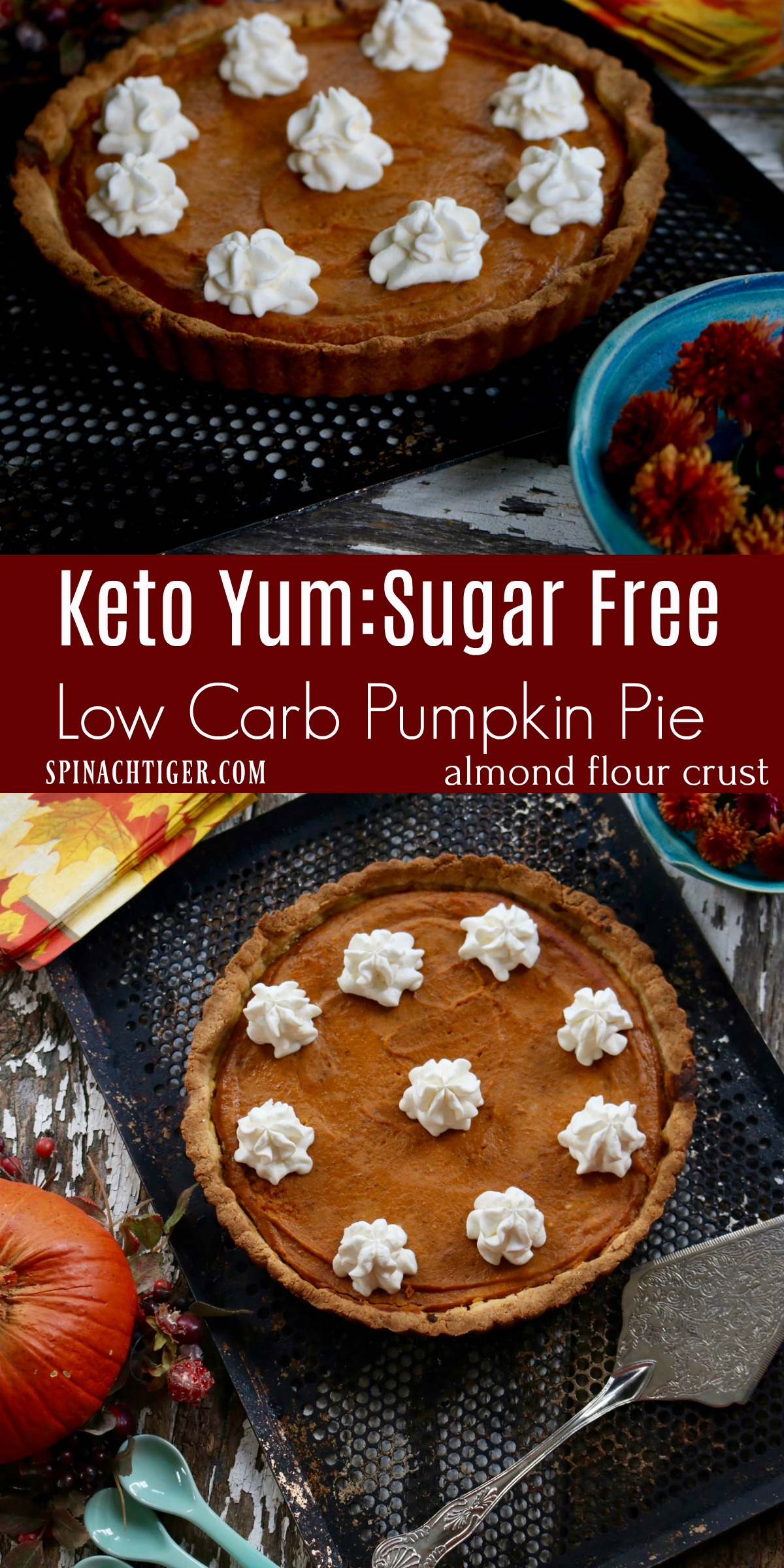 Low Carb Pumpkin Pie , 7 net carbs, Keto Recipe from Spinach Tiger